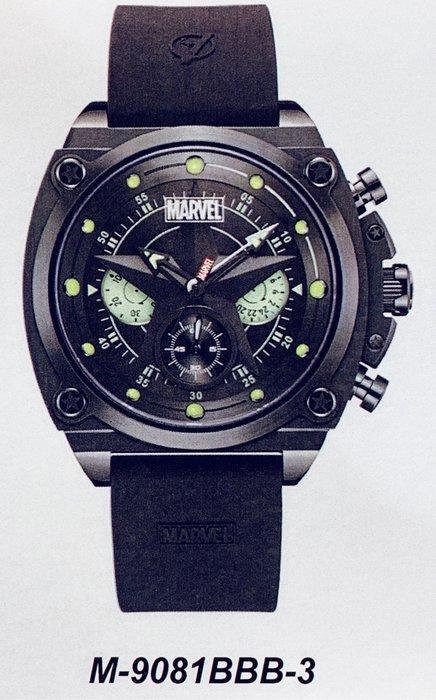 [靚錶閣]正品漫威MARVEL 美國隊長 M-9081BBB-3黑鋼款