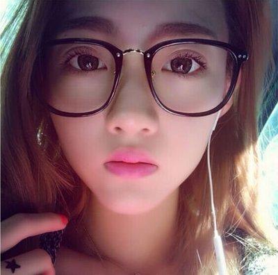 §韓國空運連線 女款超輕 複古大框 韓版複古超輕大方框防輻射眼鏡框男女款個性平光鏡架潮配近視眼鏡 黑衣天使§