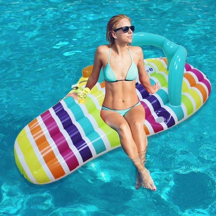 【奇滿來】創意造型浮板 夾腳拖浮床浮排 充氣游泳圈沙發拖鞋造型浮板水上床飄浮船 躺椅游泳水上玩具 海邊沙灘必備AQCF