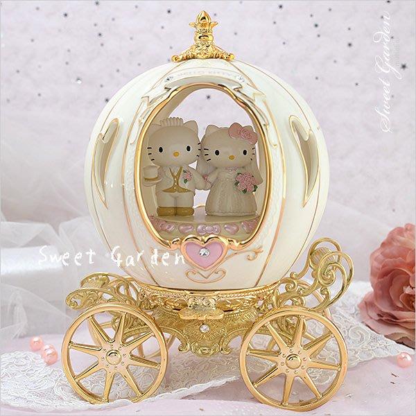 Sweet Garden, Hello Kitty陶瓷南瓜馬車音樂盒(免運) 結婚禮物 童話婚禮 浪漫新人 精緻鍍金