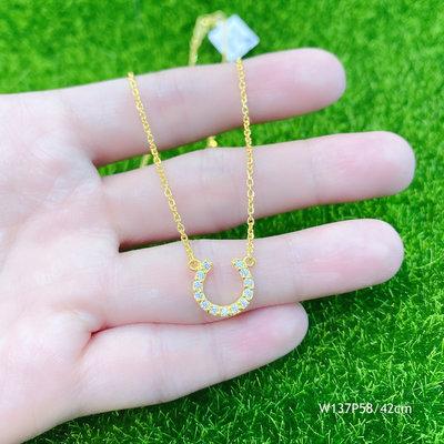黃金小套鍊 1.37錢 水鑽馬蹄 純金項鍊Pure Gold Neclect