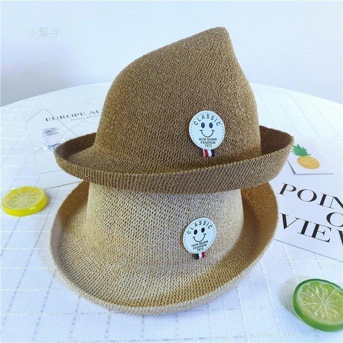 綠光街鋪 圈圈紗兒童小禮帽LM69笑臉標卷邊出游遮陽透氣草帽爵士帽子S258