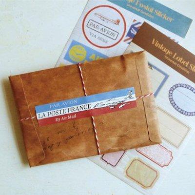 《Jami Honey》【JC2367】沐光復古木頭色草寫英文信封