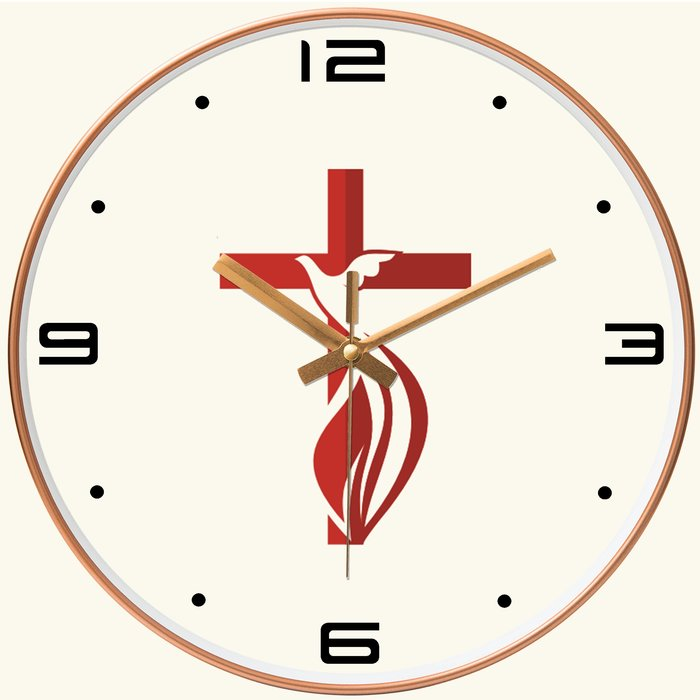 基督教禮品  圓型玫瑰金 /黑色(外框)  (十架聖靈鴿) 時鐘  基督教 教會