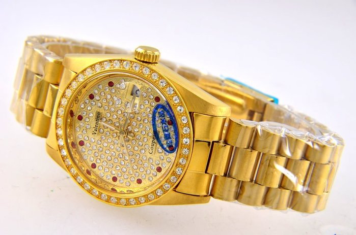 (六四三精品)Valentino coupeau全金色滿天星面盤.藍寶石水晶鏡面,自動上鍊機械錶!