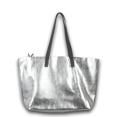 手提包 真皮 托特包-字母銀色牛皮肩背女包包2款73vi8[獨家進口][米蘭精品]