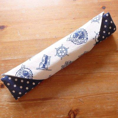 手作餐具袋 餐具袋訂做 深藍海洋風   番玉手作