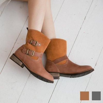 中筒靴 牛皮雙色牛皮配色工程靴 台灣手工鞋 丹妮鞋屋