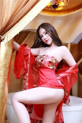 Sexy Chinese red ancient wind cheongsam suit lingerie robe
