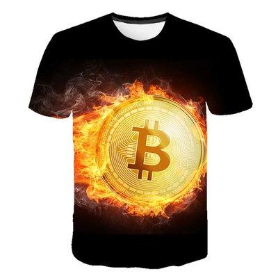【英爵倫】新款2020男裝 比特幣(Bitcoin) 3D男士印花短袖T男女男女短袖T恤 潮T 卡通T恤 印花短T