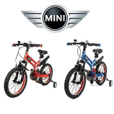 """英國 MINI COOPER原廠正版授權開拓者自行車16吋16""""前後擋泥板越野型兒童自行車越野腳踏車兒童輔助輪 紅色藍色"""