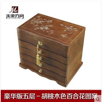 木亞方舟純手工雕刻 實木首飾盒帶鎖木質復古首飾收納盒結婚禮物