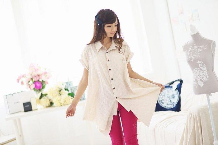 !!(中國藍Anewei))自然亞麻棉原色椰扣不規則襯衫/外罩衫~F舒適透氣~另有藍染款