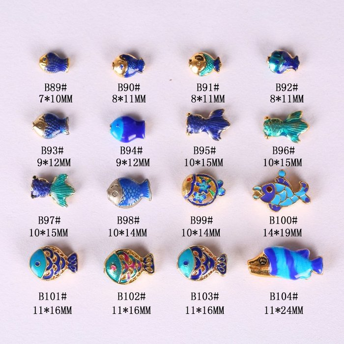 小花精品店-景泰藍烤藍鎏金藏銀飾品配件 小魚隔珠 DIY手工串珠編織手項鏈