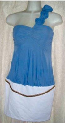 斜領藍白色性感洋裝
