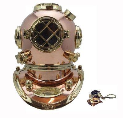 潛水造型玫瑰銅材質重潛水頭盔擺件 (10.5英寸)