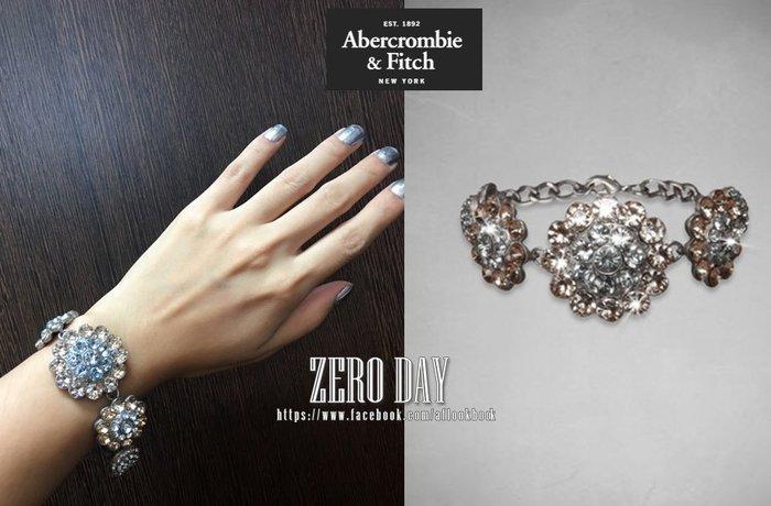 【零時差】A&F Abercrombie&Fitch METALLIC SHINE BRACLET銀色雕花水鑽手環/手鍊