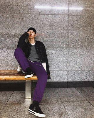 工裝褲 休閒褲 潮男休閑運動印花紫色直筒束腳褲長褲闊腿褲衛褲ins超火