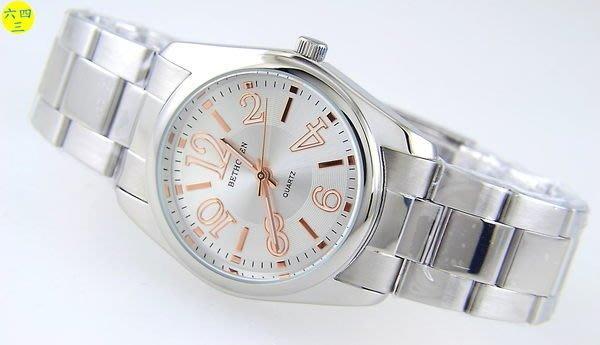 (六四三精品)3.4公分錶徑.不銹鋼錶殼及錶帶.精準錶!金色直條加阿拉伯數字白面!