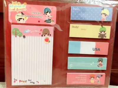 天使熊小鋪~日韓文具 可愛水果女孩系列記號貼 便利貼 合頁N次貼內有六種不同可愛圖案