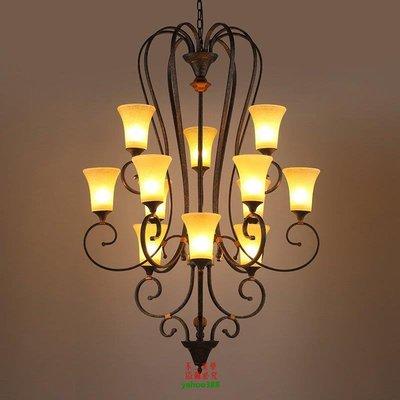 【美學】別墅復式樓樓梯吊燈歐式三層樓梯間長吊燈美式復古躍層客廳大吊燈MX_232