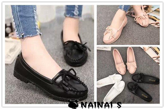 【NAINAIS】beauty 美鞋‧9357 韓版 學院風蝴蝶結流蘇軟底平底豆豆鞋娃娃鞋 3色36-40預 特價399