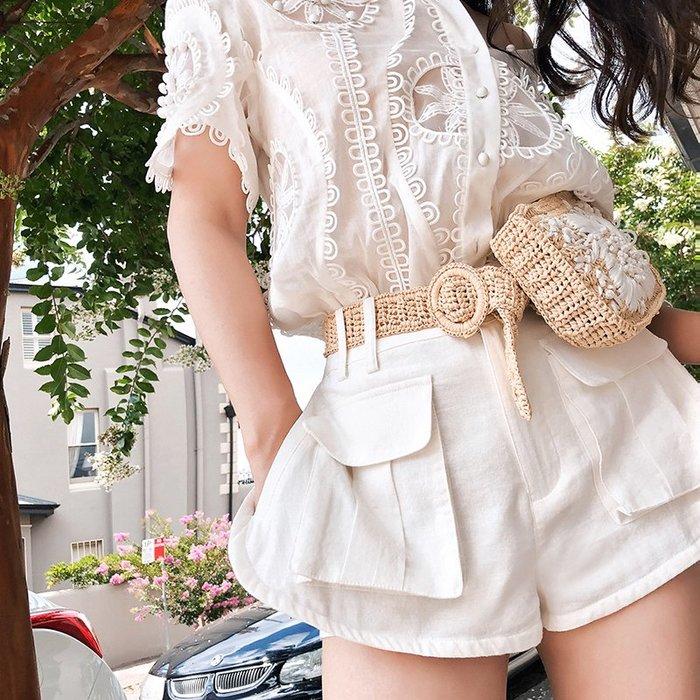 《巴黎拜金女》假兩件套寬鬆高腰闊腿休閒褲女士白色棉麻短褲子