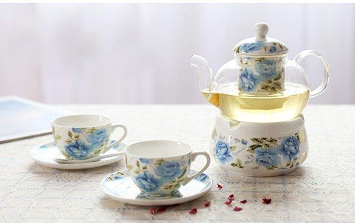 ~蘇菲亞精品傢飾~下午茶系列藍玫瑰組一壺二杯二盤禮盒組