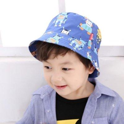 春夏淺藍色機器人兒童漁夫帽太陽帽
