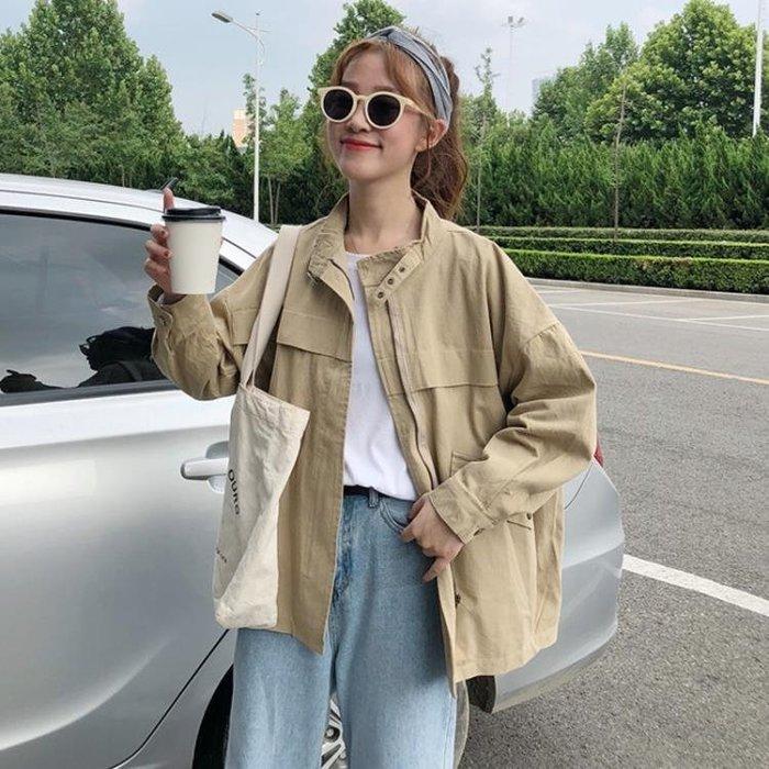 秋季女裝2018新款韓版BF風寬鬆百搭工裝外套學生長袖開衫上衣夾克