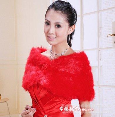 秋冬仿毛衣披肩短袖新娘小外套 禮服批肩小外套 婚紗禮服小罩衫 紅色