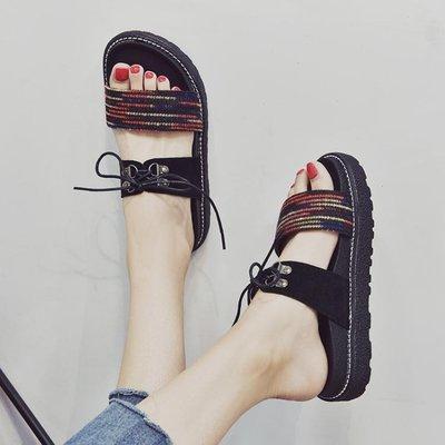 新款涼拖鞋女夏外穿平底時尚室外出沙灘韓版厚底ulzzang港風