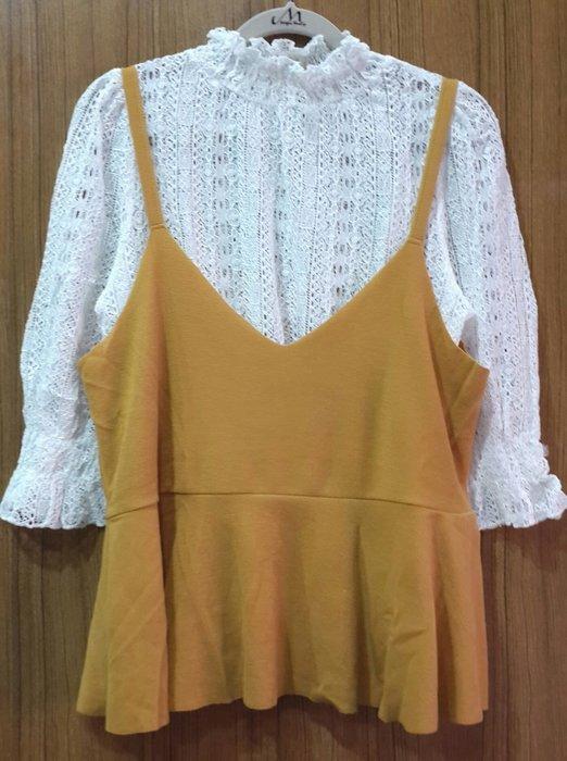 【Alice秘密衣櫥】全新 韓 春夏款 可拆開搭配二件式 芥末黃小可愛 內搭氣質蕾絲上衣