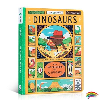 進口英文原版繪本Life on Earth Dinosaurs 地球上的生命系列:恐龍 兒童趣味科普翻翻書 自然生物科學通識 3-6歲幼兒書籍邊學邊玩