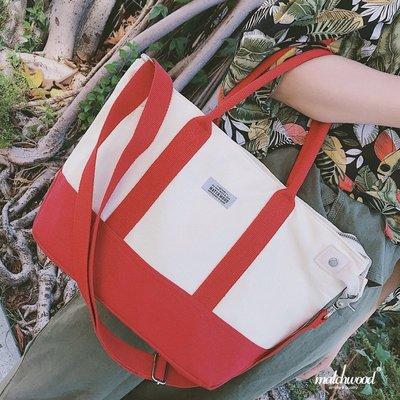 【Matchwood直營】Matchwood Academy 兩用托特包 手提包 斜背包 水餃包 米白X紅色款 限時優惠