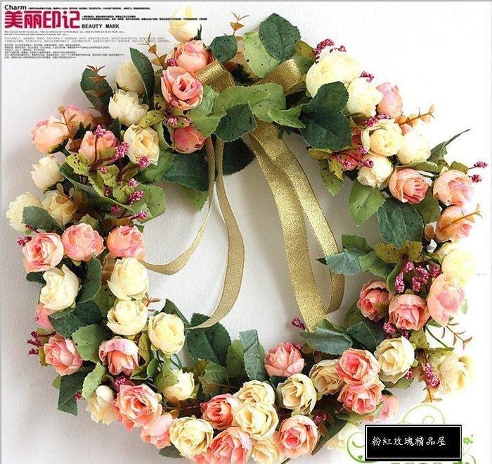 粉紅玫瑰精品屋~歐式玫瑰仿真花環門飾掛飾聖誕婚禮吊飾~
