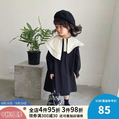 CICI的賣場~女童秋裝新款連身裙2020中長款潮兒童氣質寬松純棉大翻領裙子洋裝洋氣