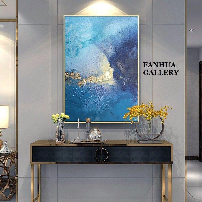 C - R - A - Z - Y - T - O - W - N 金箔藍色抽象裝飾畫客廳沙發背景巨幅掛畫現代藝術掛畫