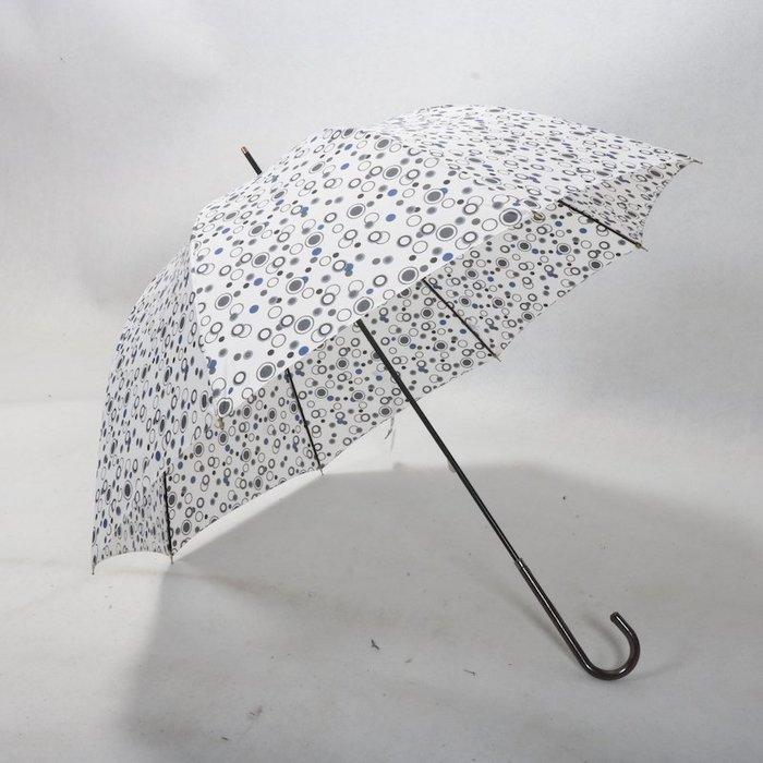 奇奇店-白色泡泡圓點皮革傘柄優雅淑女款手開拱形阿波羅晴雨傘#加固 #小清新 #晴雨兩用