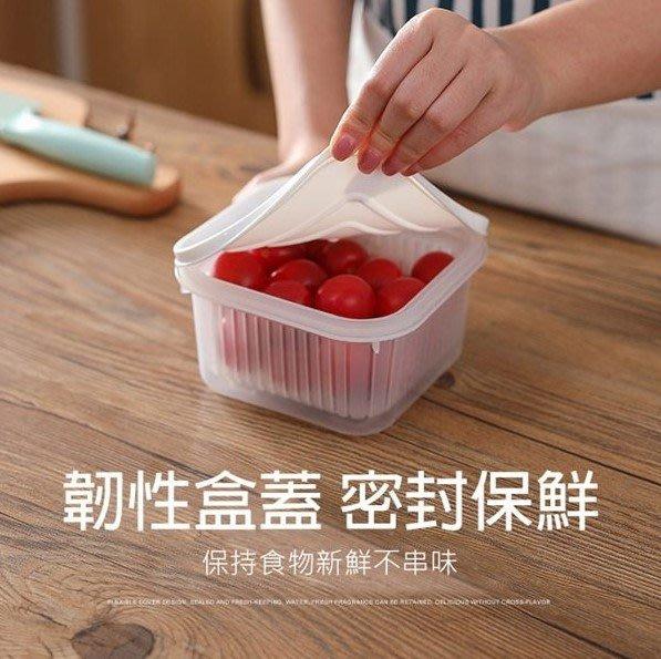 寶貝玩具屋二館☆【方形加大蔥花保鮮盒】可瀝水雙層保鮮盒☆【日用品】