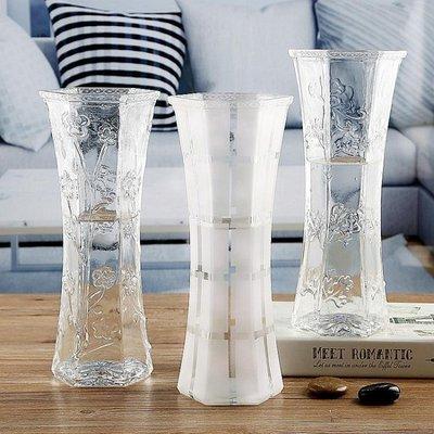 養富貴竹子的花瓶簡約干花百合玻璃花瓶擺件透明客廳水培插花大號 WD    全館免運