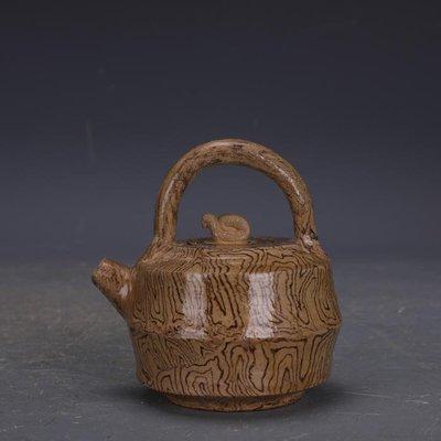 【三顧茅廬 】唐代灰地全手工絞胎瓷提梁壺 文物出土古瓷器古玩古董收藏品