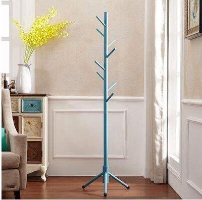 【優上】全實木衣架落地房間衣帽架掛衣架落地衣物架客廳單桿式衣服架「藍色」