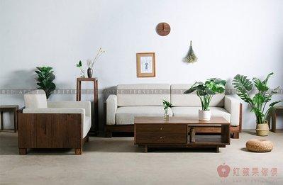 [紅蘋果傢俱]MJ018 日式 北歐 實木沙發 布藝沙發 沙發床 沙發