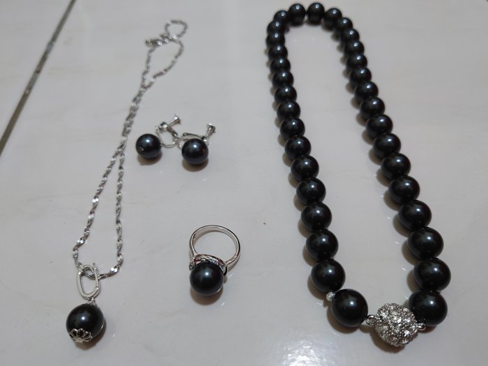 天然稀有黑珍珠組