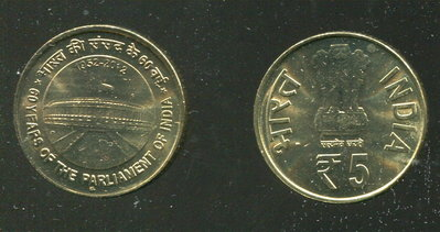 【紀念幣】INDIA (印度), 5 Rupee , K376 , 2012 國會60年 品相全新UNC