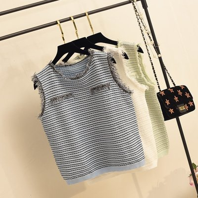 夏季韓版小香風毛邊無袖圓領背心寬鬆百搭內搭背心針織背心冰爽絲針織