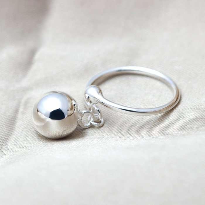 乾一愛洛奇 925銀戒指韓版個性光珠圓球吊球戒指指環開口食指戒子女士