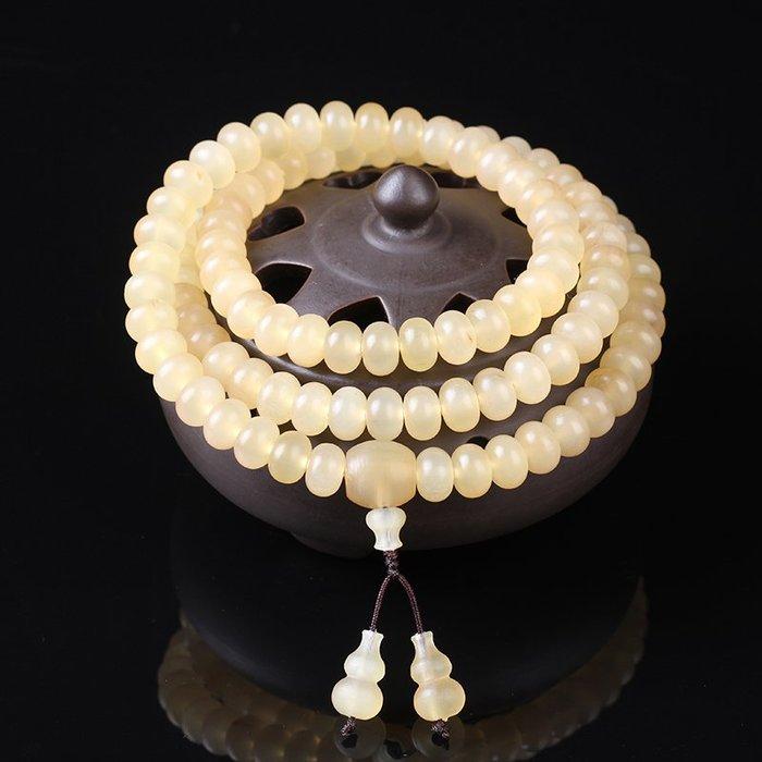 西藏天然蘋果圓羊角佛珠手串男女108顆葫蘆款清熱解涼9*5羊角手鏈 居衣纺JYF