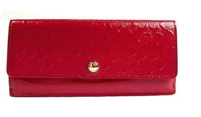Coco小舖 COACH 52458 SOFT WALLET IN LOGO EMBOSSED 紅色漆皮C壓紋長夾